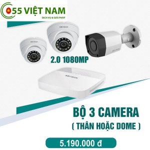 Trọn bộ camera giám sát 2.0Mp Hikvision (03 camera)